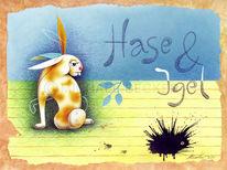 Hase, Grimm, Igel, Illustration