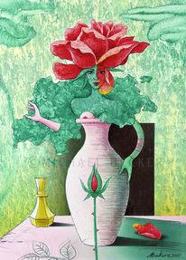 Vase, Rose, Stillleben, Frauenkörper