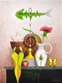 Vase, Illustration, Löwenzahn, Mischtechnik