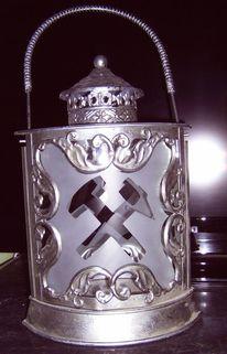 Glas, Schlegel u eisen, Grubenlampe, Licht