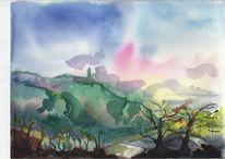 Malerei, Aussicht breitenstein, Landschaft, Aquarell