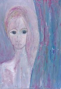 Portrait, Junge frau, Schüchtern, Malerei