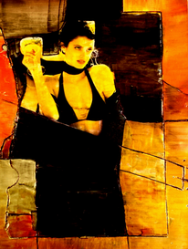Frau, Collage, Schwarz, Orange