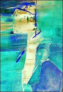 Wasser, Muße, Frau, Digitale kunst