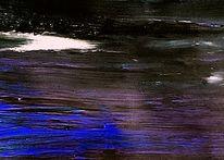 Nacht, See, Abstrakt, Blau