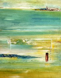 Urlausfeeling, Wasser, Skyline, Malerei