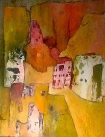 Berge, Farben, Bergdorf, Acrylmalerei