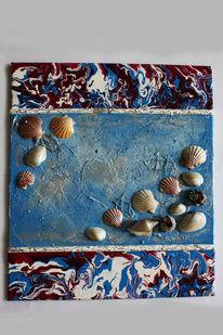 Malerei, Weiß, Abstrakt, Muschel