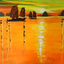Bucht, Halong, Boot, Orange