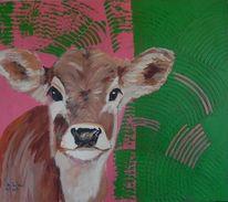 Acrylmalerei, Kalb, Tiere, Kaelbchen