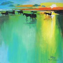 Bucht, Pferde, Acrylmalerei, Meer
