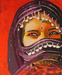 Portrait, Wüste, Acrylmalerei, Blumen
