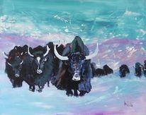 Yaks, Himalaya, Wildnis, Acrylmalerei