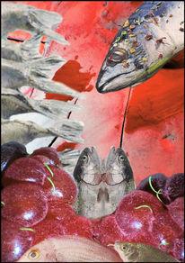 Fisch, Himbeere, Flasche, Mischtechnik