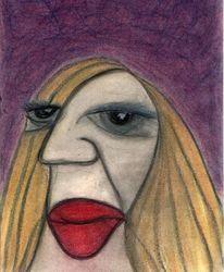 Frau, Karikatur, Eindruck, Dick