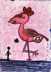 Flamingo, Kampf, Rosarot, Illustrationen