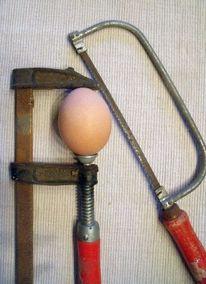 Säge, Ostern, Eierköpfen, Vermessung