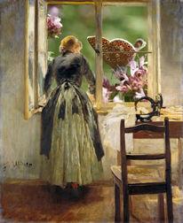 Frau, Fenster, Nähmaschine, Fritz von uhde
