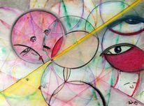 Strahlenrüssler, Vielpickhuhn, Pastellmalerei, Roter spatz