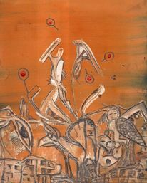 Orange, Straßentanz, Straßenkampf, Aquarell