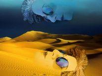 Sonnenbrillen, Collage, Wüstensand, Blau