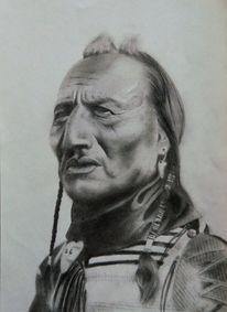 Indianer, Groß, Zopf, Mund