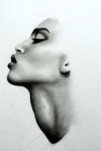 Profil, Frau, Malerei,
