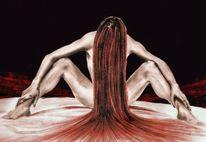 Buntstiftzeichnung, Rot schwarz, Frau, Bleistiftzeichnung