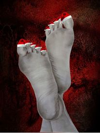 Weihnachten, Fuß, Rot, Mischtechnik