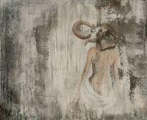 Elefant, Menschen, Ganesha, Mischtechnik