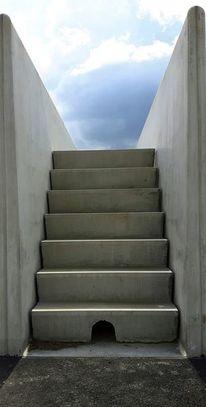 Stufe, Blau, Beton, Treppe
