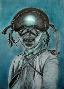 Soldat, Buntstiftzeichnung, Jacke, Bleistiftzeichnung