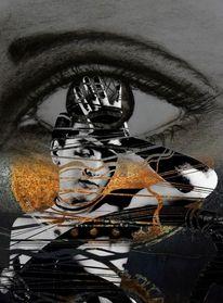Schwarz, Augen, Grau, Malerei