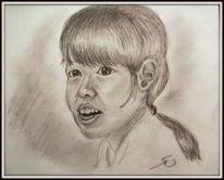 Realismus, Bleistiftzeichnung, Portrait, Thailand