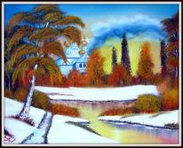 Winter, Schnee, Landschaft, Malerei