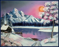 Traum, See, Schnee, Berge