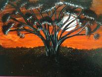 Baum, Malerei, Abendstimmung