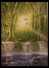 Baum, Spraydosen, See, Wasserfall