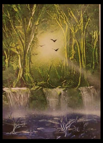 Wald, See, Wasserfall, Himmel