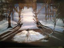 Engel, Wald, Himmel, Malerei
