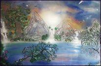 Baum, See, Berge, Wasserfall
