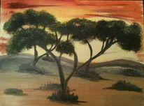 Sonnenuntergang wüste, Malerei
