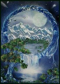 See, Wasserfall, Berge, Mond