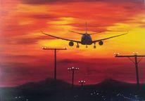 Fliegen, Urlaub, Flugzeug, Licht