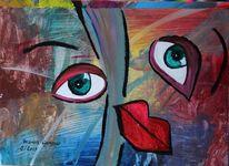 Abstrakt, Mund, Augen, Blick