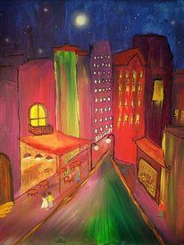 Häuser, Stadt, Nacht, Malerei