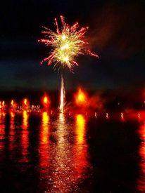 Feuerwerk, Orange, Wasser, Gelb