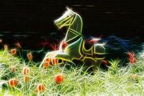 Neonfarben, Pferde, Digitale kunst