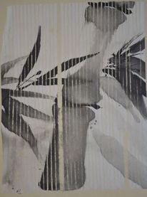 Collage, Sumi, Japantusche, Zeichnung