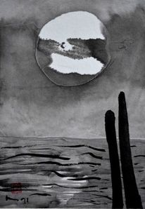 Tusche, Pfahl, Zeichnung, Wasser